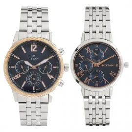 TITAN Couple Watches Bandhan Blue Dial Stainless Steel Strap 107073