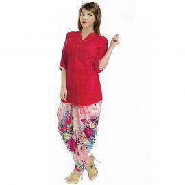 Women's Red Color Pajama Set 106808