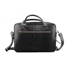 CROCO PRINT LEATHER BRIEFCASE OFFICIAL BAG BLACK FOR MEN SB-W15 in BD at BDSHOP.COM