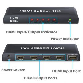 HDMI  Splitter 1 In 4 Out maintain resolution up to 1080p 107676