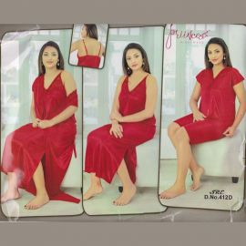 4 Part Nighty- Red Color Comfortable Satin Fabric 107023