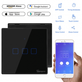 SONOFF WiFi Smart Wall Touch Switch T3 UK 3 Gang- Compatible with Alexa, Google Assistant 1007178