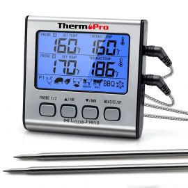 ThermoPro TP17 Dual Probe Food Grill Thermometer with Timer Mode and Large LCD Backlight  1007538